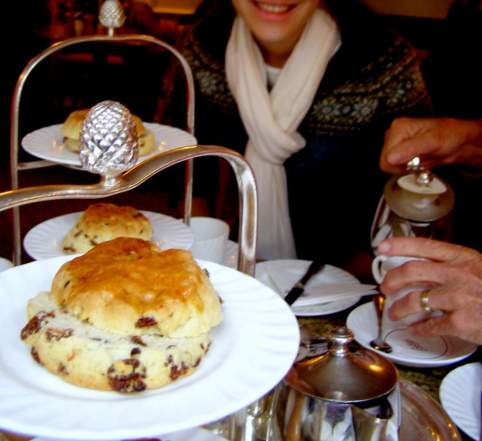 Authentic Scones Recipe: A Taste Of England, currant scones, plate of sweets, sweet treats, fresh baked, hot out of the oven, dessert scones, high tea, English tea, Little Betty's Cafe, York, England,