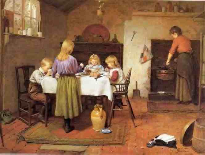 On Forming Good Childhood Habits In the Home At A Young Age, respectful children, well behaved family, Breakfast time, Harry Brooker, mother with children at table, family at mealtime