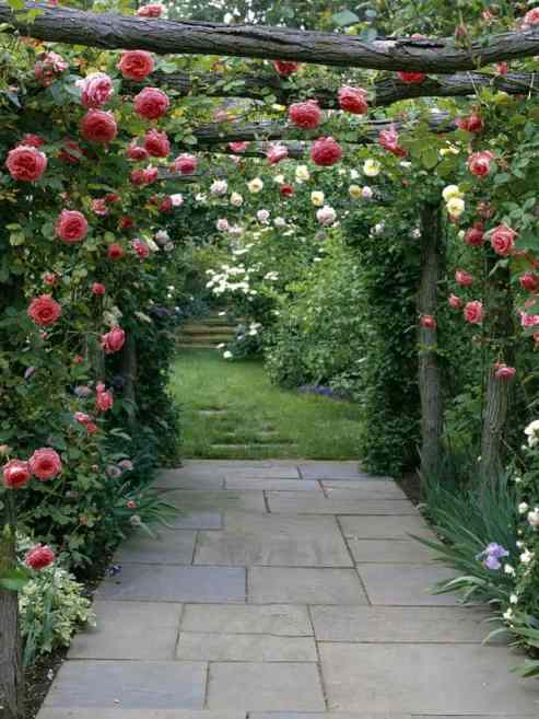 10 Garden Elements With Big Impact, decorating, garden, outdoor living, birdhouses, landscaping, nature, natural, build it, decor, yard, landscape, planning, DIY, rustic, tuteur, elements, stonework, trellises, arbors, pathways, vines, climbing roses, Zephirine Drouhin, metal supports, blue pottery, easy care grasses, enclosed porches, patios, shady conversation nooks, rockers, recycled furniture, swings, fire pit, emergency cooking, potting shed, stick teepees, Bison hand well pumps, rock walls, clumps of perennial bulbs, old garden gates, latch, antique hardware, inspiration, roses on a rustic wooden trellis, climbing