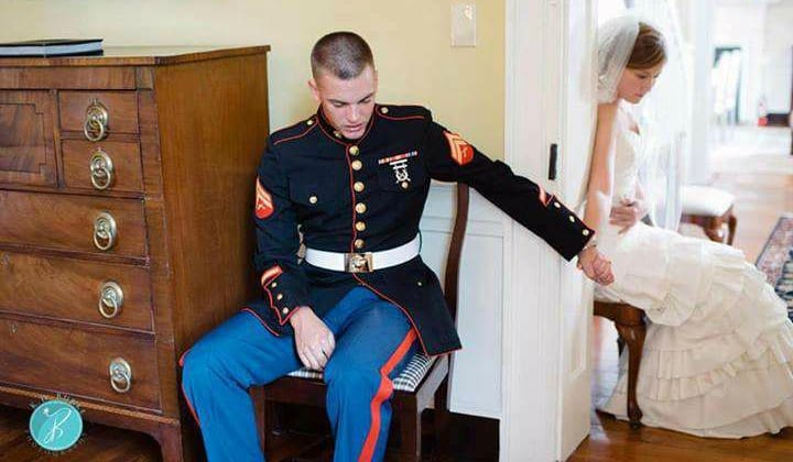 The Story Behind the Photo, went viral, praying togrther, before wedding, bride, groom, staying pure, marriage, wedding day, holding hands, wedding dress, purity, virginity, vows, trust, solid foundation, heads bowed, uniform, decorated soldier, wedding party, reception hall, man and women seated, restraint, self-control, accountability, prayer partners, Scripture, Word of God, obeying commands,