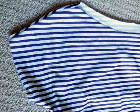 Sun & Swim: Swimwear Tutorial {and a Review}, ruched swim top, elastic ruching, how-to tutorial, quick dry swim fabric, stripes, pattern, DIY, make your own pattern, no hemming, stretch, stretchy fabric