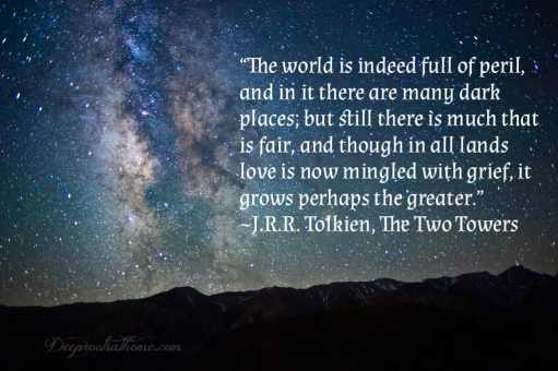 """J.R.R. Tolkien: More Than Meets the Eye, stories, quotes, Christian theology, trilogy, creation, incarnation, salvation, The Fellowship of the Ring, The Two Towers, The Return of the King, creative license, """"On Fairy-stories"""", Jon Bloom, desiringGod.com, miraculous grace, mercy, happy ending, myth, Middle-earth, Bilbo, Louis markos, On Shoulders of Hobbits, evangelium, the gospel, eucatastrophe, joy, Edith Bratt, C.S. Lewis, fantasy, parenting, homeschool, reaching, children's books, read-aloud books, Chronicles of Narnia, The Hobbit or There and Back Again, philology, Mabel Tolkien, The Lord of the Rings, LOTR, Dyson, conversion story, birth of Christ, reality, fairy tales, languages, Exeter, Oxford, WWI,"""