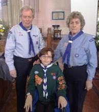 Geoff & Pauline with grandson Thomas (now a Scout)