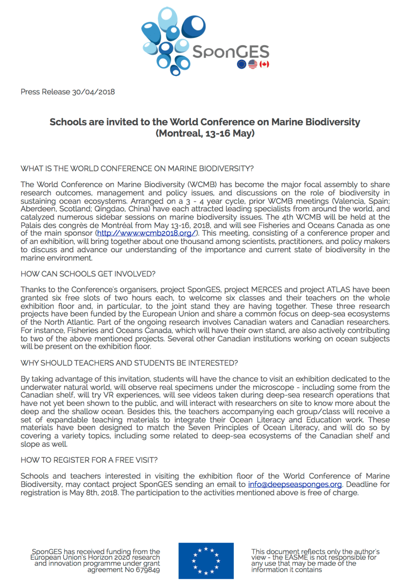 Press Release – Schools are invited to the World Conference on Marine Biodiversity