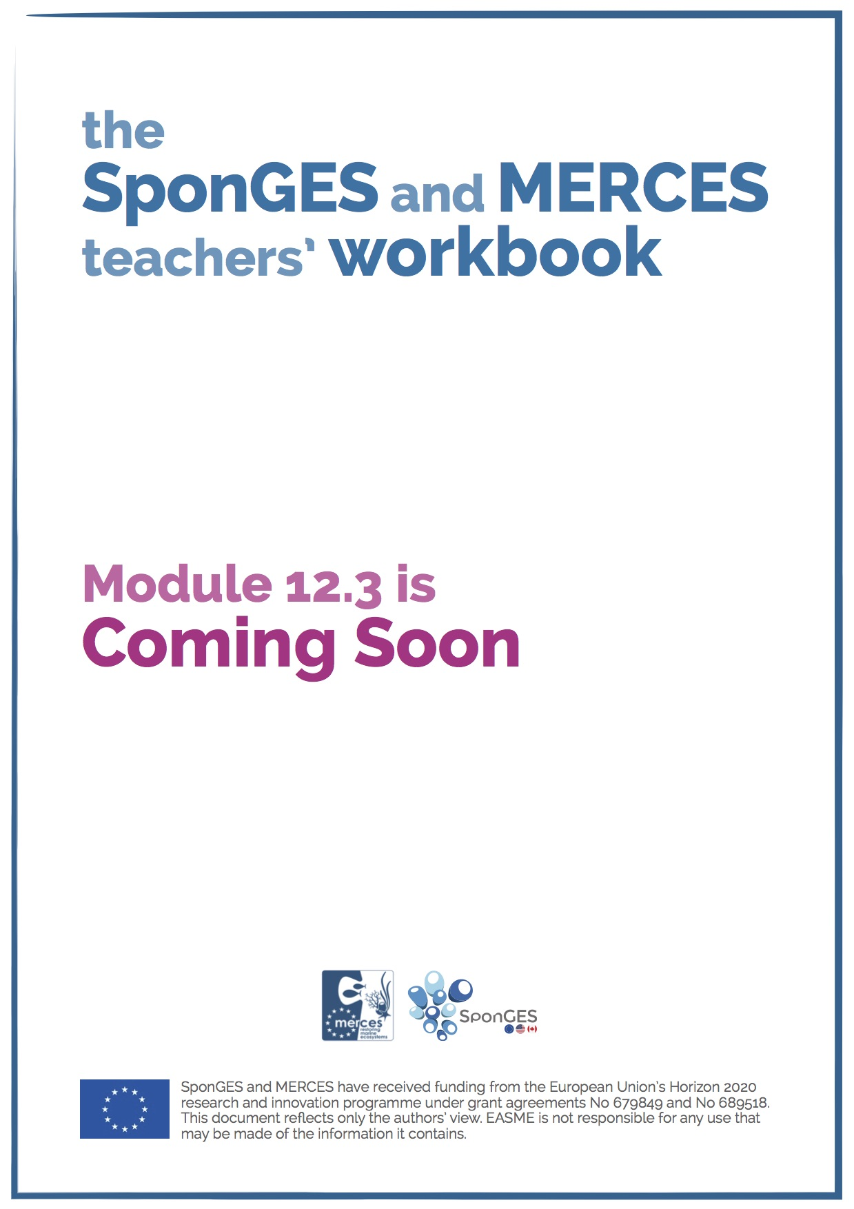 Module 12.3 of the SponGES and MERCES teachers' workbook