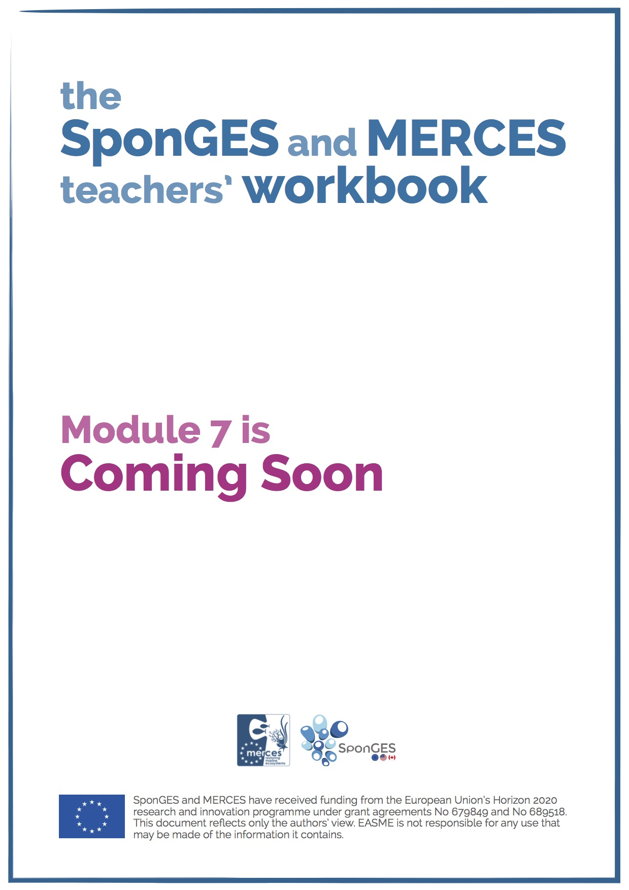 Module 7 of the SponGES and MERCES teachers' workbook