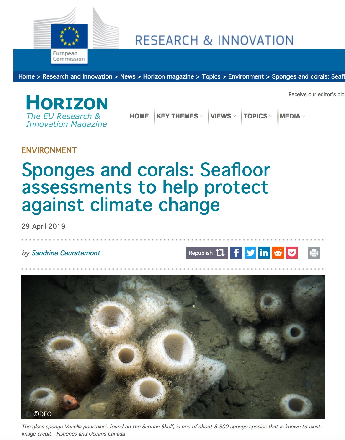 SponGES, ATLAS, Horizon Magazine