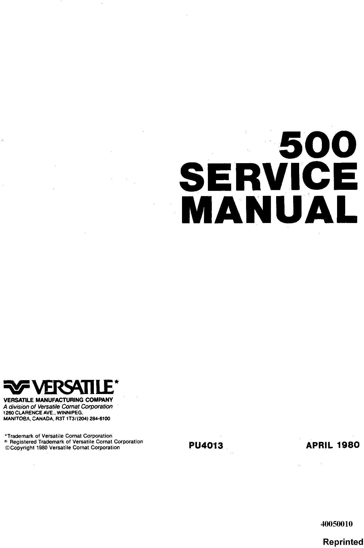 Ford Versatile 500 4wd Tractor 79 Complete Service