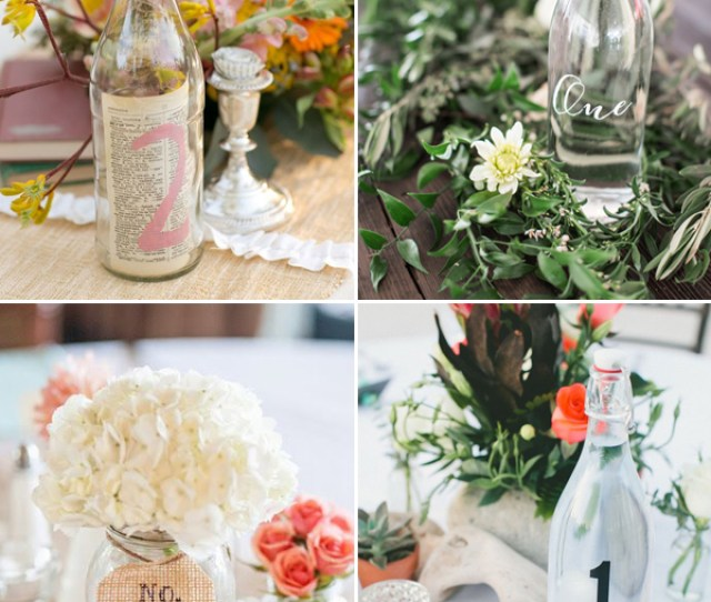 Rustic Country Wedding Ideas Bottles And Jars Wedding Table Numbers