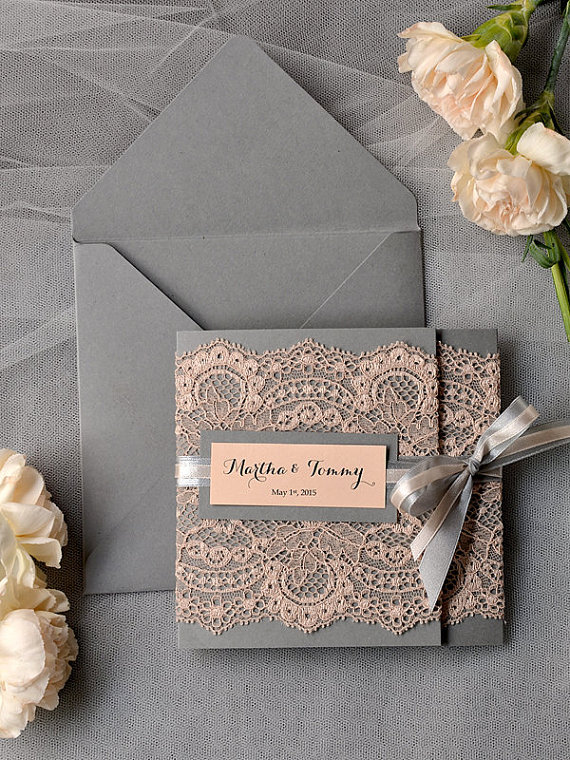 Vintage Peach Lace Grey Wedding