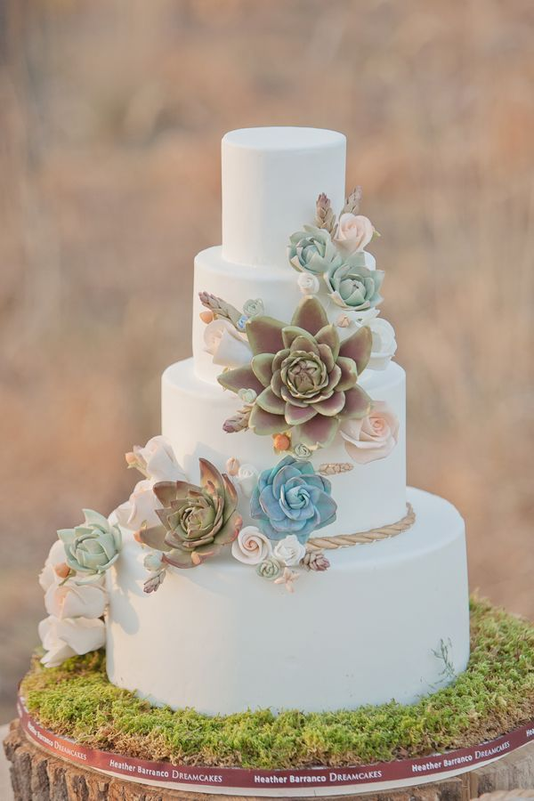Succulent Wedding Cake for Garden Wedding   Deer Pearl Flowers Succulent Wedding Cake for Garden Wedding