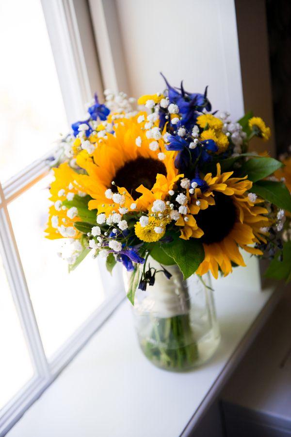 Navy Blue And Sunflower Wedding Invitations