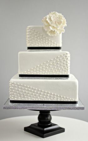 simple square black and white wedding cake with pearl detail   Deer     simple square black and white wedding cake with pearl detail