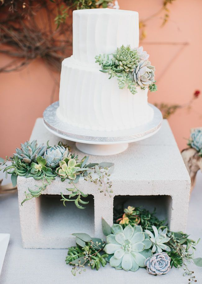 Succulent wedding cake and cinderblock cake stand   Deer Pearl Flowers Succulent wedding cake and cinderblock cake stand