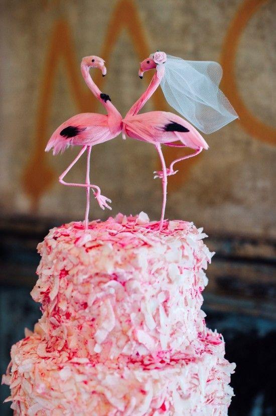 Pink Flamingo Wedding Cake Topper