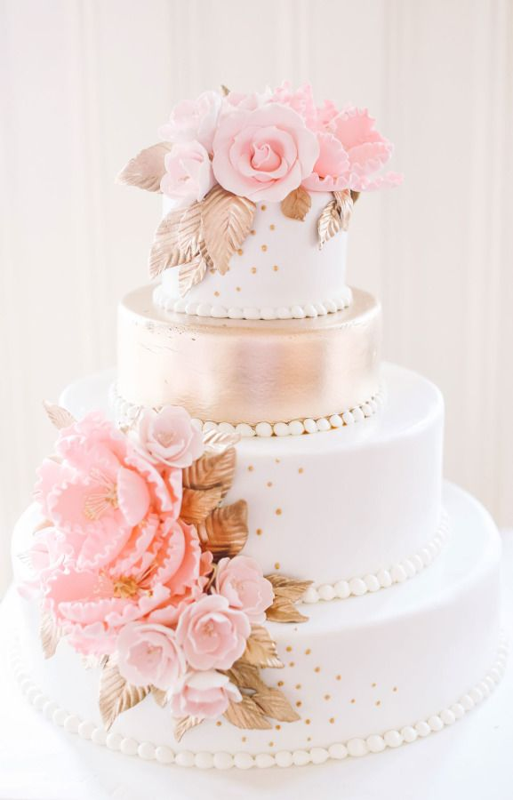 Pink  white and gold wedding cake   Deer Pearl Flowers Pink  white and gold wedding cake