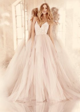 Hayley Paige blush low v neck tulle wedding dress 2016   Deer Pearl     Hayley Paige blush low v neck tulle wedding dress 2016