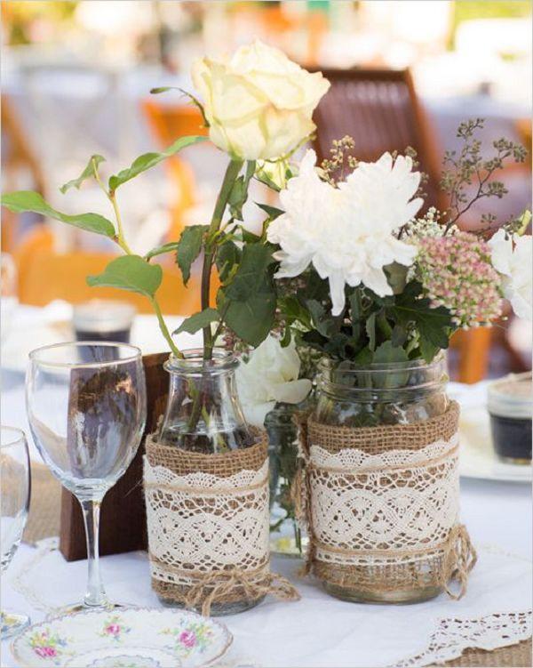 Rustic Wedding Reception Table Centerpieces Wedding Invitation