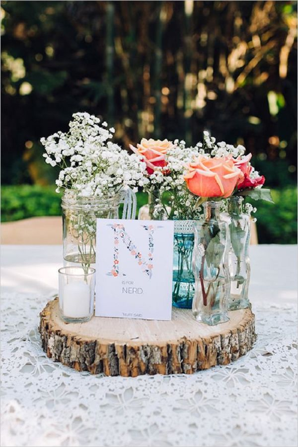 25 Best Rustic  Vintage Wedding Centerpieces Ideas for 2018   Deer         rustic baby s breath and roses in lace covered mason jar wedding  centerpiece