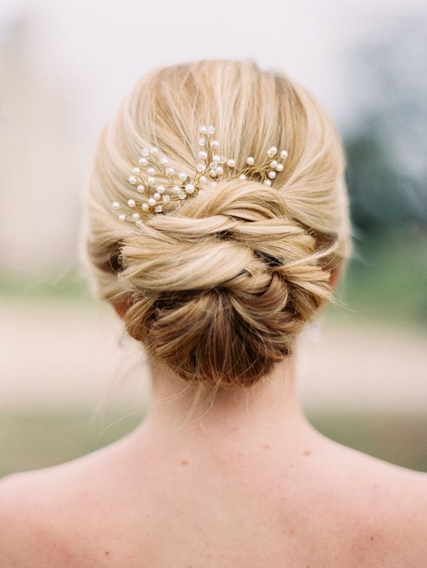 wedding updo hair with pearls