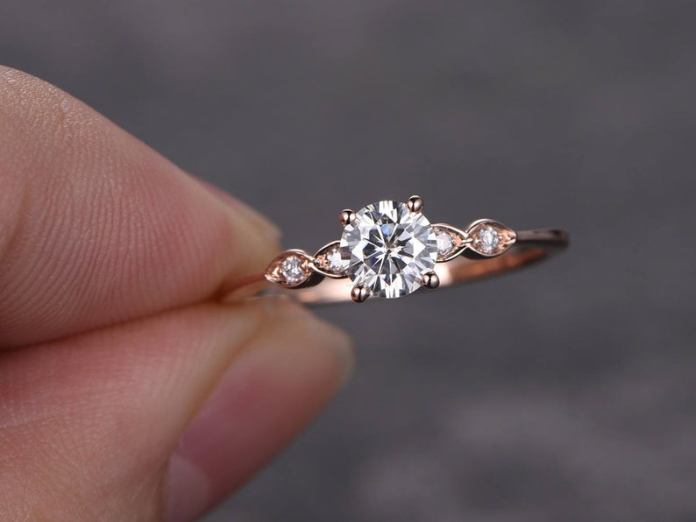 5mm Round Cut Moissanite engagement ring rose gold