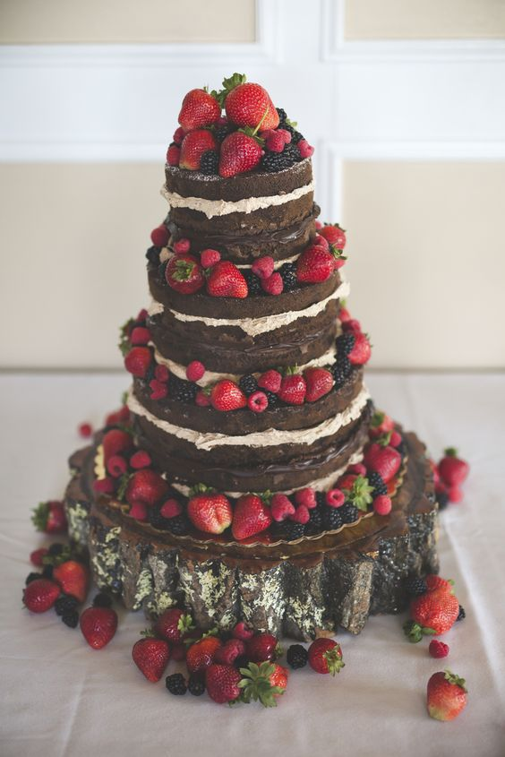 Naked Chocolate Wedding Cake With Fruit Via Rockhill