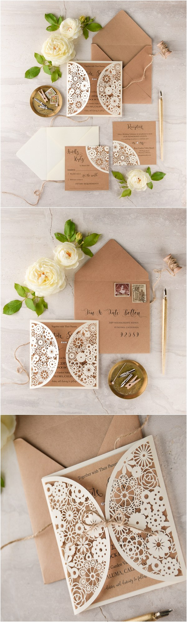 Laser cut kraft paper rustic wedding invitations 07LuctCz