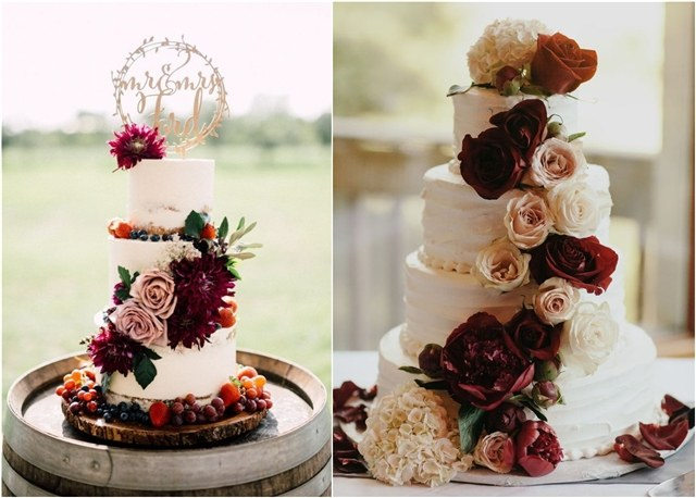 Top 20 Burgundy Wedding Cakes You ll Love   Deer Pearl Flowers Burgundy wedding cake ideas