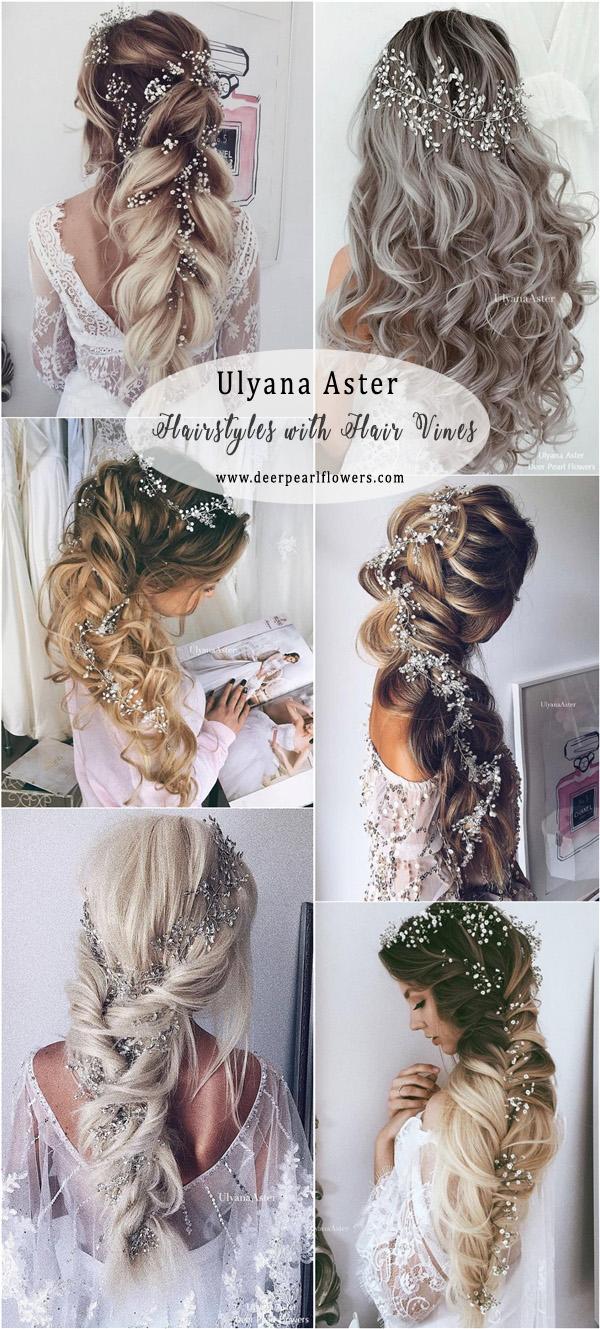 ulyana aster long wedding hairstyles with hair vine | deer