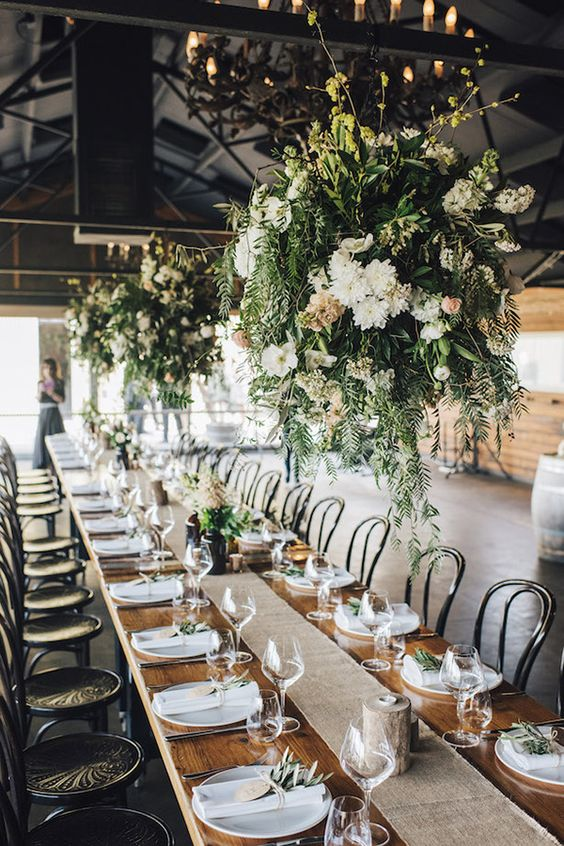 Rustic Chic Wedding Reception with Greenery Chandeliers