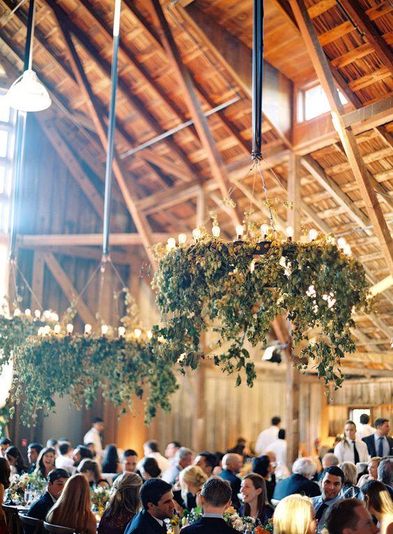 rustic barn greenery wedding chandelier