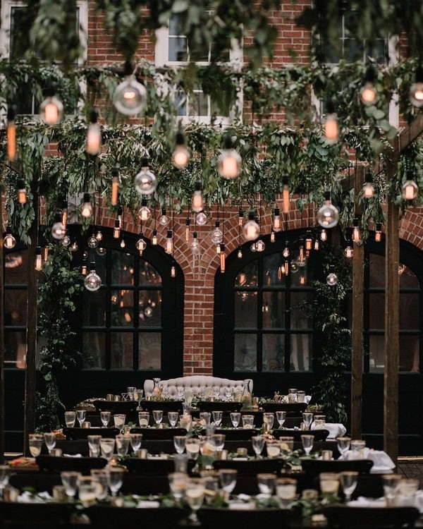 hanging greenery and lighting wedding reception decor 19
