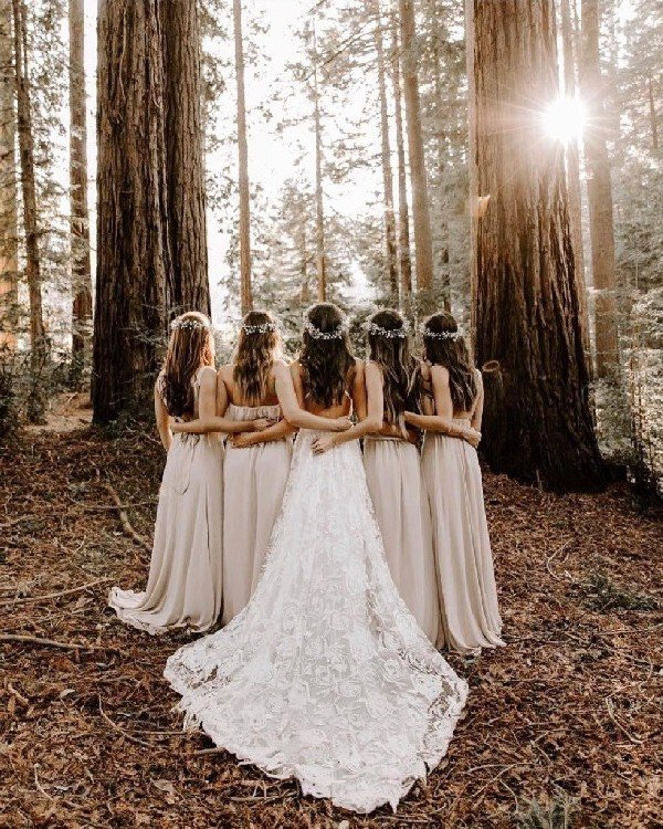 taupe bridesmaid dresses and boho wedding photo
