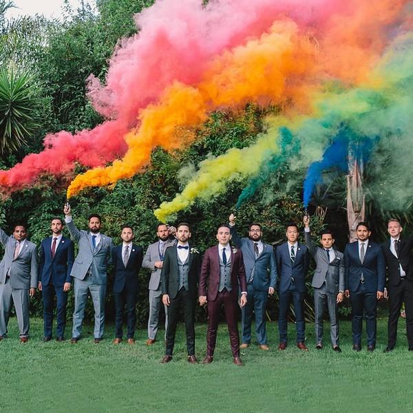 Smoke Bomb Groom and Groomsmen Wedding Photos