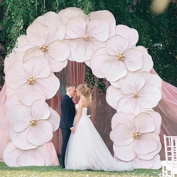 blush pink paper flower wedding backdrop12