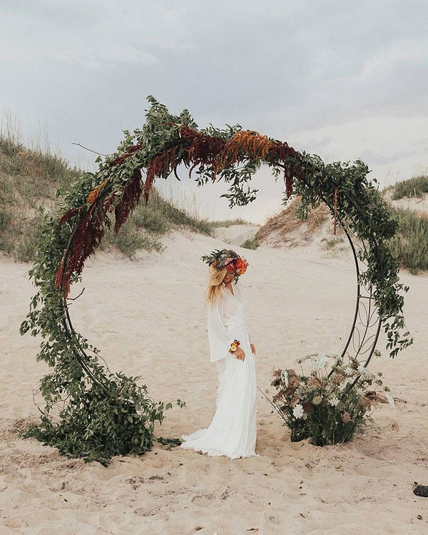 greenery beach wedding circle backdrop