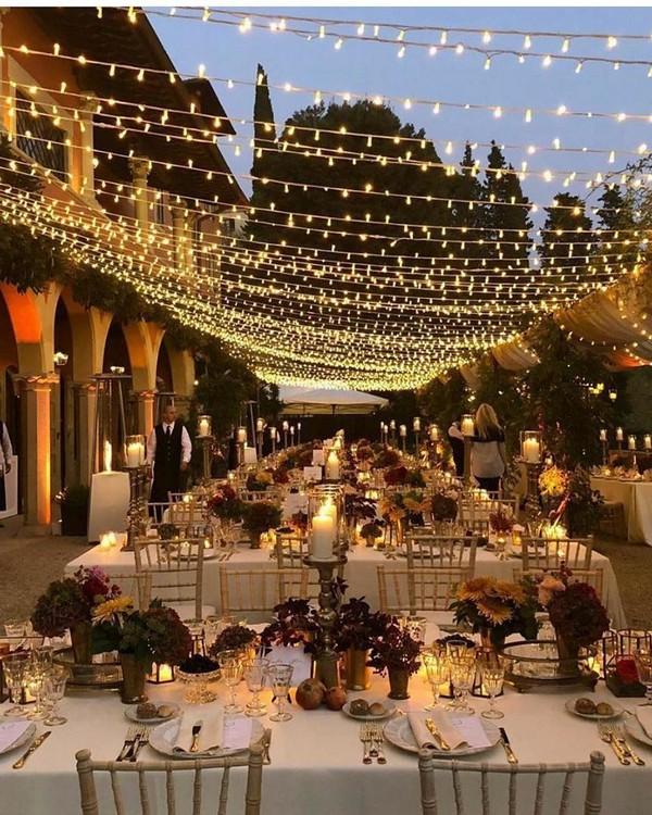 rustic lighting wedding reception decor