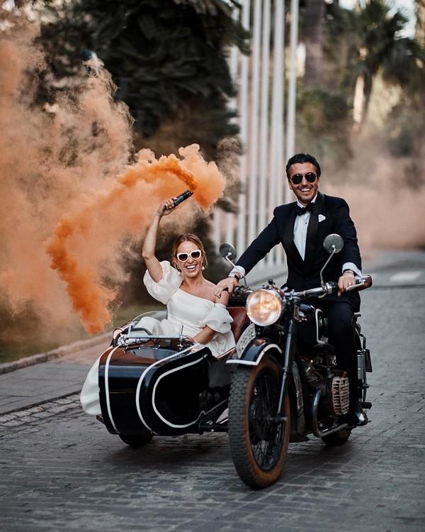 vintage sunset orange smoke bomb wedding photo
