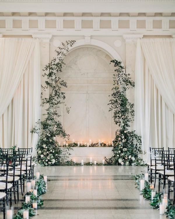 classic greenery indoor wedding ceremony decor