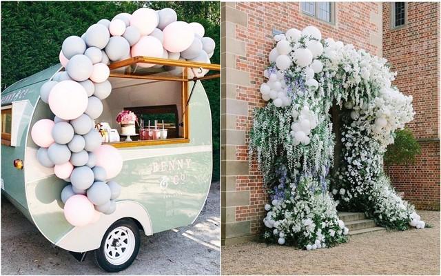 greenery and white balloons wedding decor