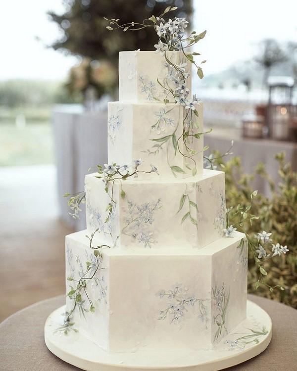 handpainted 4-tiered wedding cake
