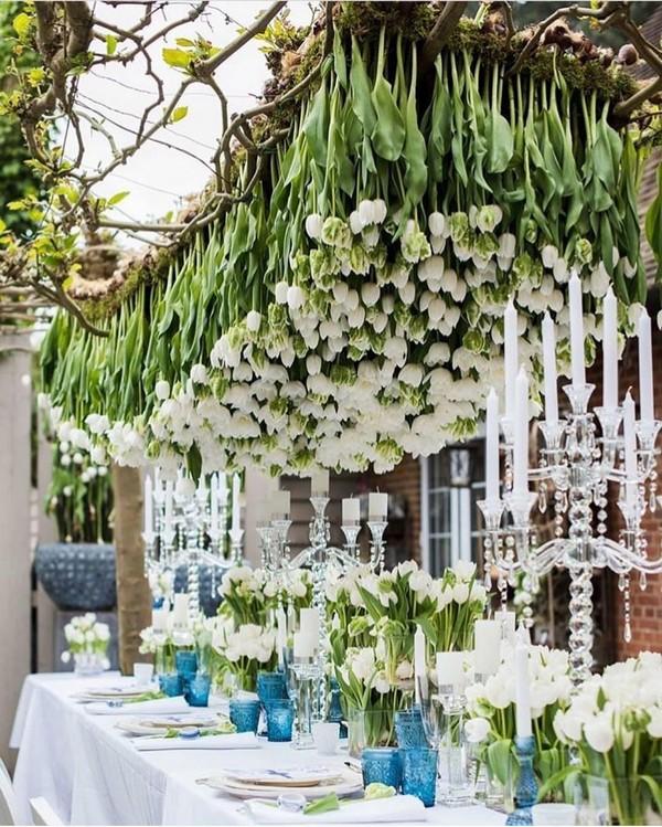 hanging tulips wedding centerpiece