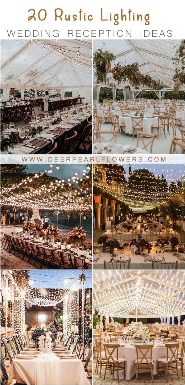 rustic country lighting wedding reception decor
