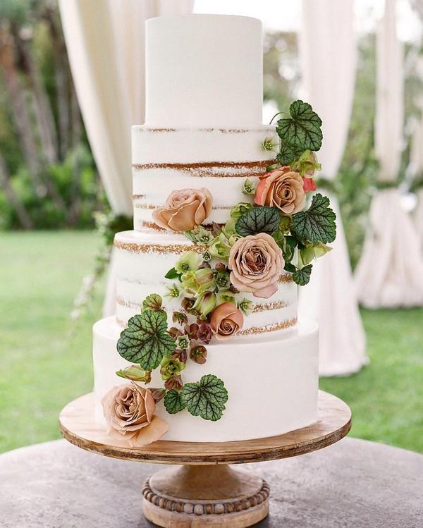 rustic naked wedding cake 1