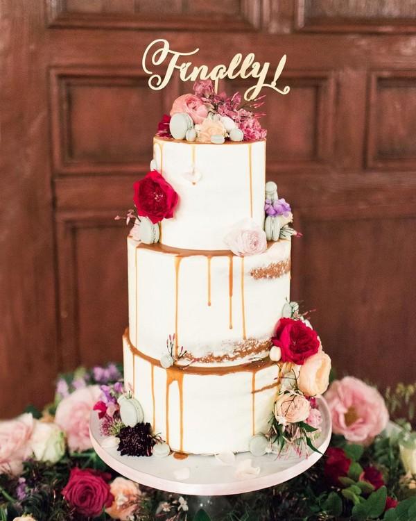 rustic naked wedding cake 8