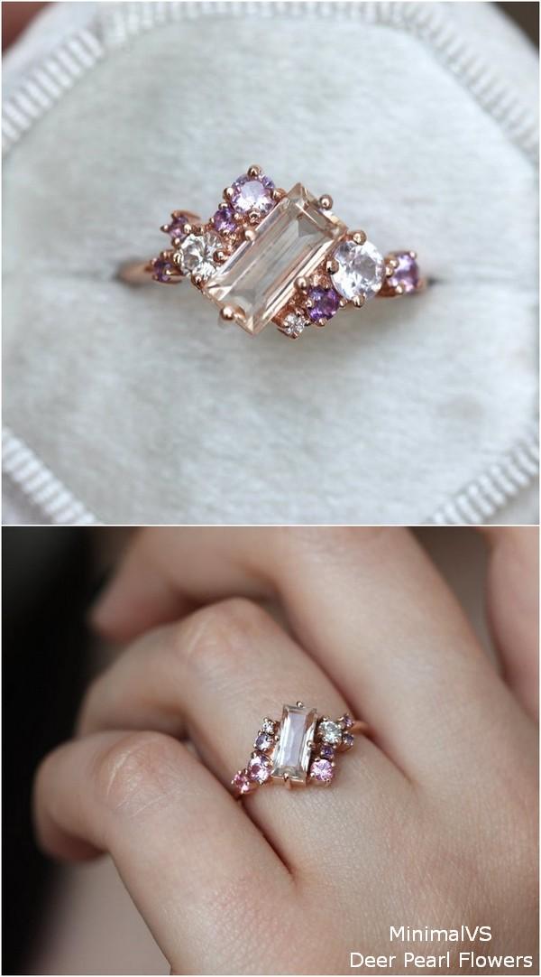 Peach Pink Purple Art Deco Engagemet Ring