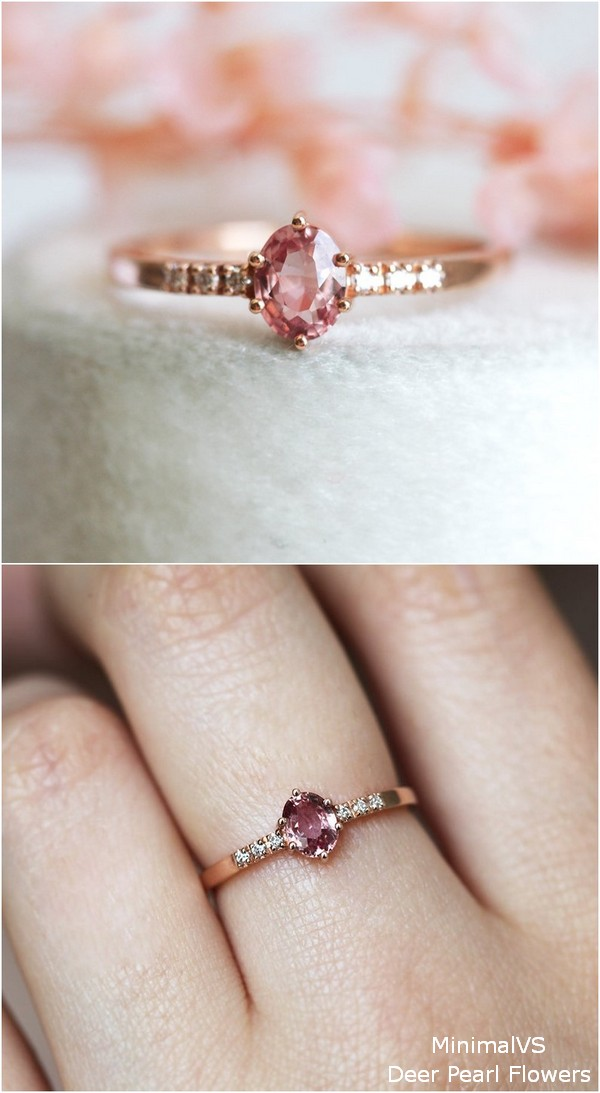 Peach Sapphire Engagement Ring With Diamonds