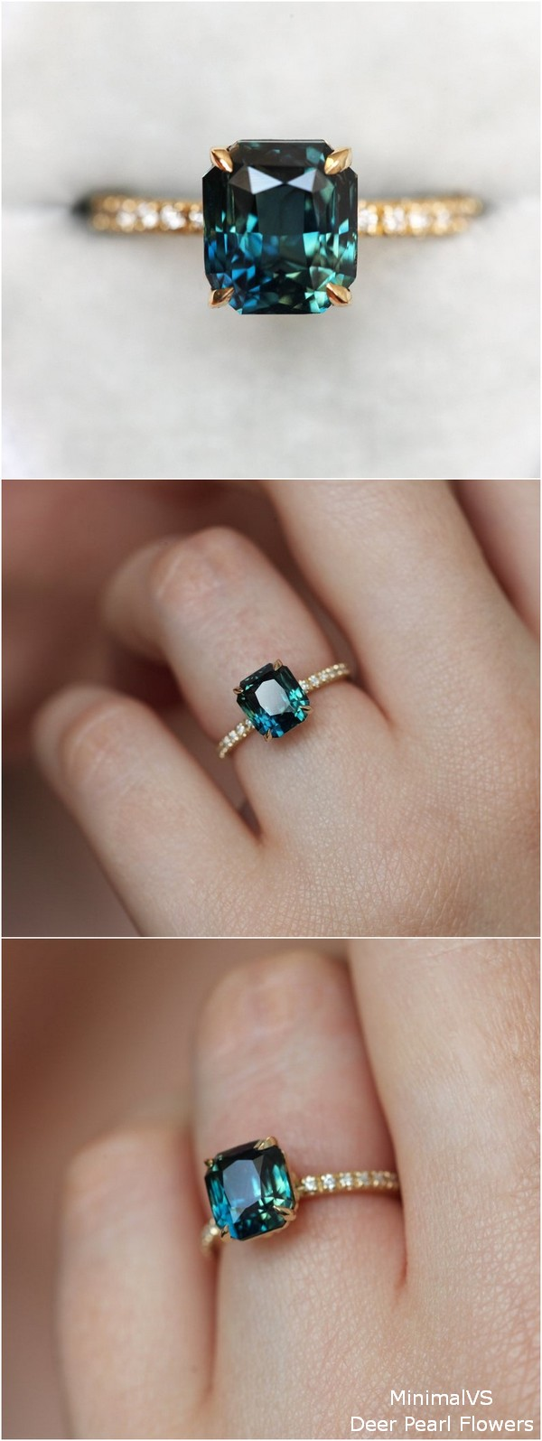 Radiant Teal Sapphire Ring with Pave Diamond Band
