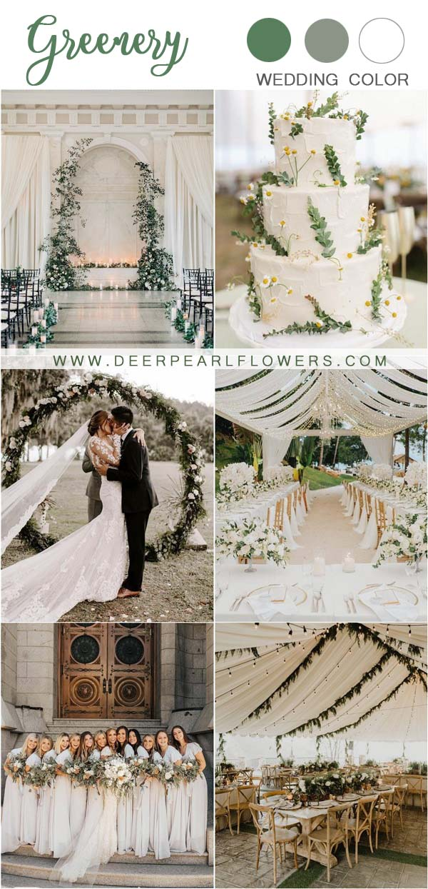 greenery and ivory white wedding color ideas