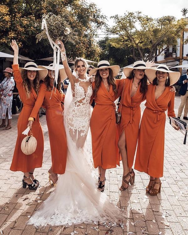 Boho dusty orange short fall bridesmaid dresses